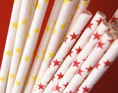 Yellow and Red Stars Paper Straws and PDF Printable Party Flags