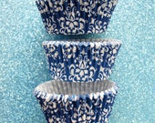 White and Royal Blue Damask Cupcake Liners Standard Size 50 per pack
