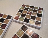 Reserved for Nettie Palmieri - Metallic Earth Tones Glass Mosaic Coasters