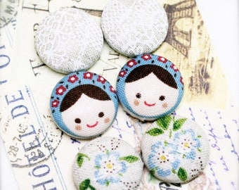 """Milkmaid lady - fabric covered button ear studs, set of 3 -  3/4"""", 19mm (BS)"""