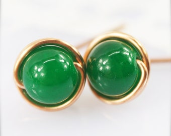 6mm - Sophine ear studs - Chinese jade (SS6)