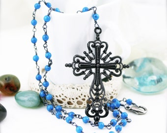 Medieval cross jade rosary necklace (MC)