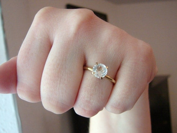 Vintage engagement style gold ring with clear crystal- size 7