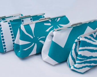 Blue Bridal Party Gift handbag clutch- Design your own as gifts for bridesmaids in aqua teal or other colors