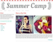 Premade Blog Theme for Self-Hosted Wordpress: Summer Camp // minimalist, blue, teal, pink, social media, theme, chevron, twitter, icons