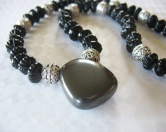Hematite and Glass Necklace, Healing Qualities, Dark Gray, Black, Silver, Handmade, Vintage Beads, Fluted Beads, Filigree