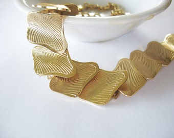Gold Aluminum Necklace Abstract Squares Germany 1940's ELOXAL