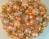 Silver and Gold Vintage Mid Century Ornament Holiday Wreath