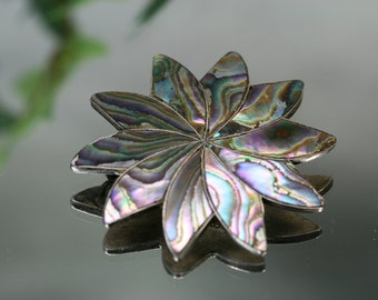 Vintage Sterling and Shell Star Shaped Brooch- Mexico