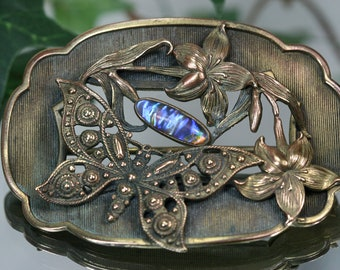 Art Nouveau Metal and Glass Sash Ornament Brooch - Butterfly and Floral