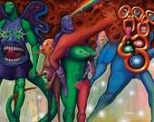 Alien Family Bizarre Space Rainbow Friendship Pop Art Print on Paper