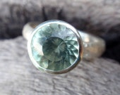 green amethyst ring - prasiolite - 9mm natural green amethyst ring in recycled sterling silver - stacking or solitaire - made to order