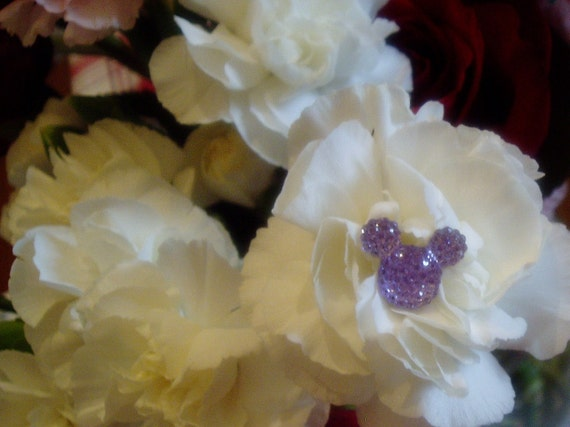 6 Hidden Mouse Ears in your  Bouquets for themed Wedding Lavender Flower Pins Floral Picks