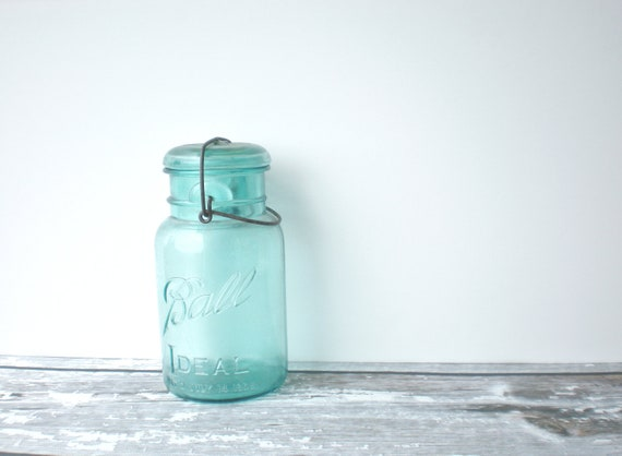 Vintage Ball Ideal Aqua Mason Jar