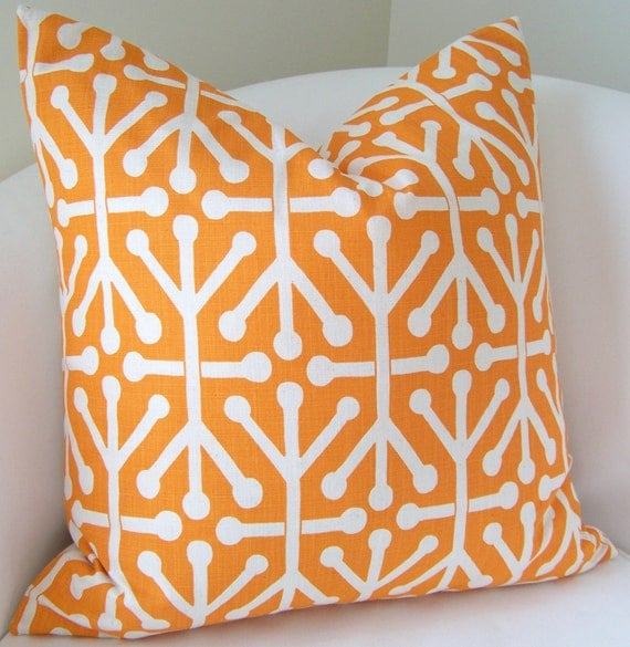 Decorative Throw Pillow Cover 20x20 Inch Orange Pillow Accent Cushion