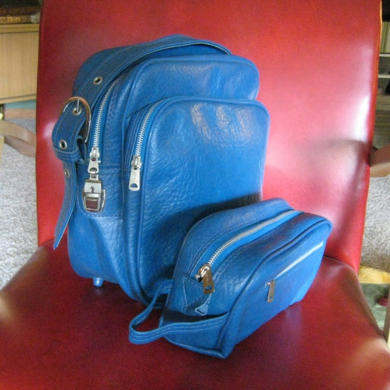 Vintage Carry On OVERNIGHT Bag with Toiletry Tote - Blue Vinyl, 1960's