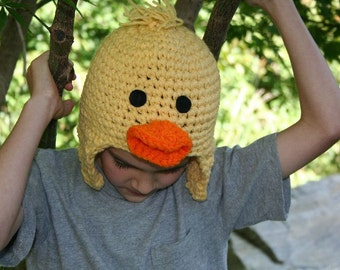 Baby chick crocheted character winter hat with ear flaps