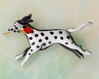 B437 Dalmatian pewter Pin / Pendant with a Red  Rose