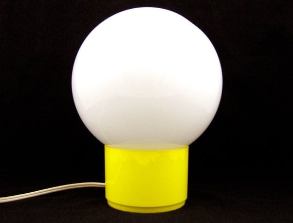 RESERVED Glowing Orb - Vintage 1970s Mod Yellow Globe Lamp, Mid Century Modern Design with Pedestal Base