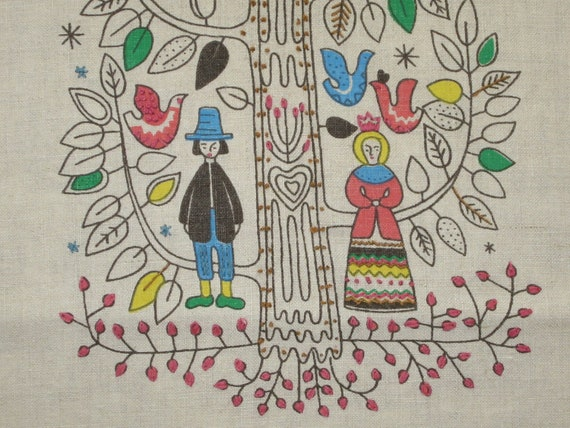 Vintage Table Runner Embroidered Sampler Tree