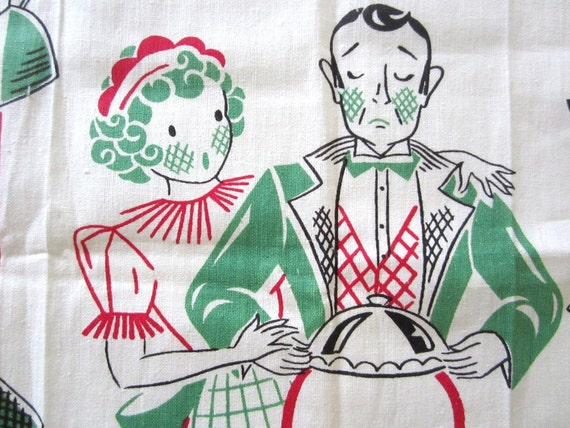 Vintage Towel Chef Waitress Maid Butler