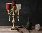 Vintage Candelabra Wedding Ready Five Candles Red and Clear With Gold Colored Base Halloween Holiday Home Decor From Nowvintage on Etsy