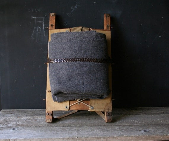 Vintage Wool Camp Blanket Gray For Cabin From Nowvintage on Etsy