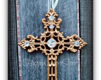 Wall Cross - Iron & Rhinestones - Metallic Gold (or your color choice)