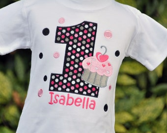 Cupcake Birthday Shirt - Cupcake Birthday Party - Personalized Shirt - Polka Dots - Girls Birthday Shirt - First Birthday - Cupcake Shirt
