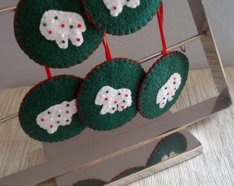 Christmas Ornament Felt Animal Crackers Frosted Mothers Cookies Holiday Tree Decoration