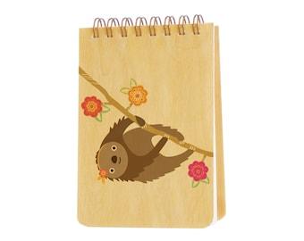 Sylvie Sloth jotter notepad - birch wood party favor purse pal - j1903