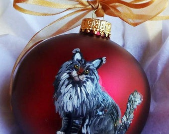Maine Coon Cat Hand Painted Christmas Ornament - Can Be Personalized with Name