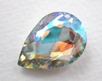 Vintage Glass Rhinestone Crystal AB Pear Jewel Faceted Foiled 25x18mm rhs0282 (1)