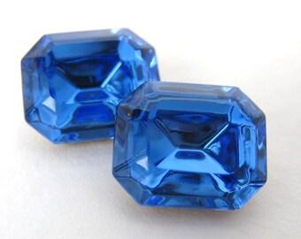 Vintage Rhinestone Swarovski Crystal Sapphire Octagon Jewel 12x10mm swa0267 (2)