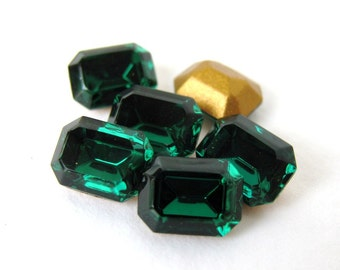 Swarovski Crystal Vintage Rhinestone Emerald Octagon Green Jewel 8x6mm swa0273 (8)