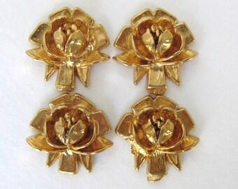 Vintage Plastic Rose Flower Cabochon Gold Metallic 18mm pcb0269 (4)