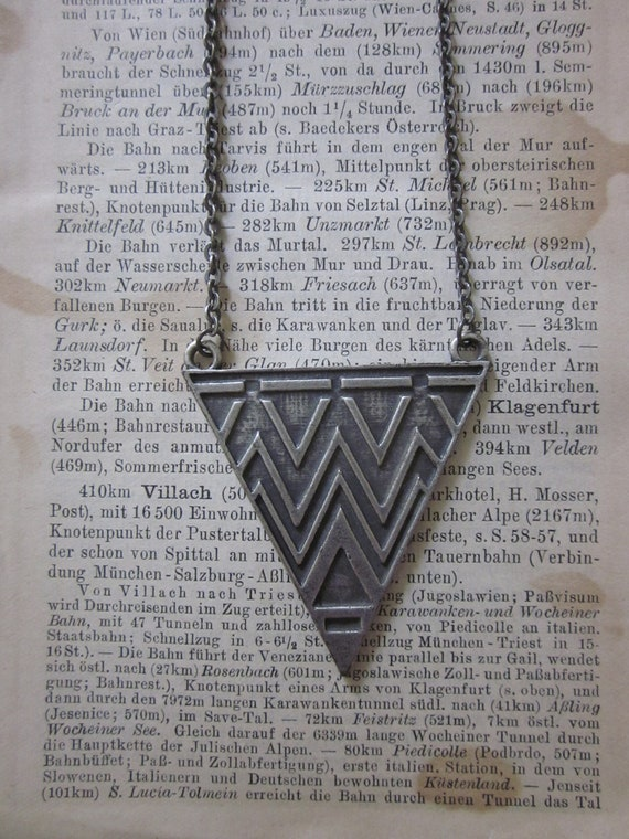 Aged Silver Tribal Aztec triangle center necklace