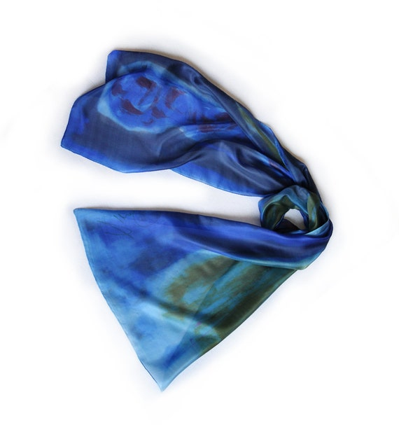 Hand painted silk scarf-Olympian blue flower hand painted silk by Dimo-Abstract flower painted by hand