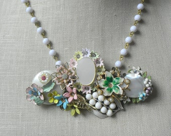 English Garden. White Pastel Vintage brooch Collage Assemblage Necklace