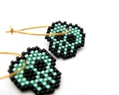 Seafoam Metal - Earrings - Metallic Seafoam, Black and 24ct Gold plated Sterling silver