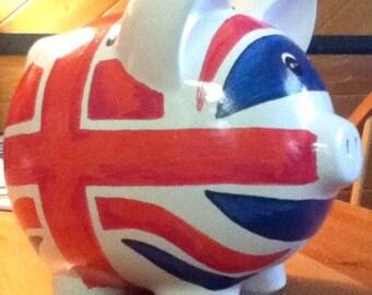 Personalized Piggy Bank British Flag Handpainted