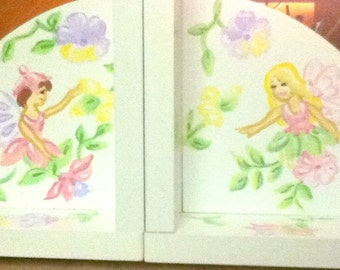 Childrens Bookends Handpainted and Personalized Fairies with Flowers