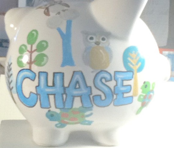 Personalized Piggy Bank Owl and Tree Design to Match Bedding Handpainted