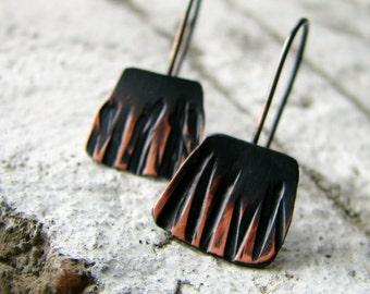 copper earrings, hammered copper earrings, two-tone oxidized, sterling silver tribal rustic modern - Herding Dragons