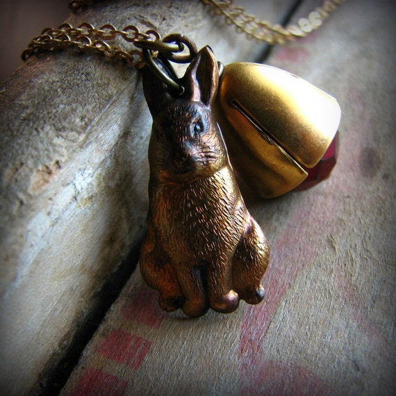 Vintage brass bunny charm and glass bead necklace rustic autumn - Run Free