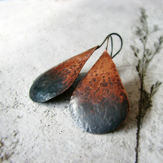 Hammered copper earrings ombre oxidized sterling silver large teardrop shaped rustic modern - Ombre Tears