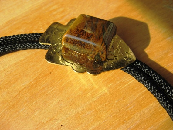 Mens Bolo Tie with 18mm Tiger Eye Gemstone on Vintage Arrowhead Concho