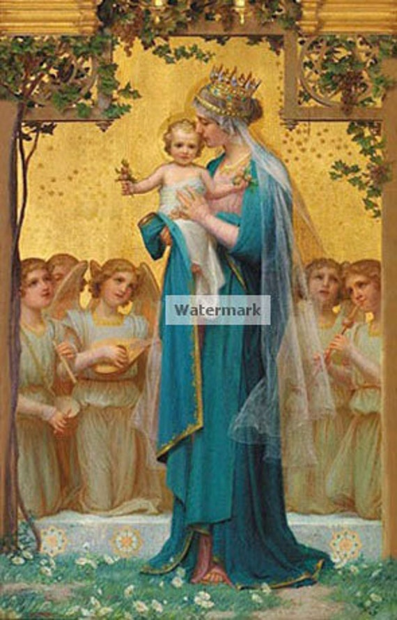 Gorgeous Picture of the Virgin Mary with Angels in Adoration of the Chid Jesus. 5 X 7 Photo print.
