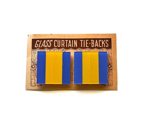 Bold Decor - Antique Curtain Tie Backs - Art Deco Glass Curtain Tie Backs - Color Block