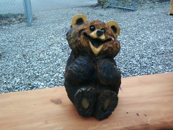 A Super Cute Chainsaw Carved Little Sitting Bear  - Sculptured Wood